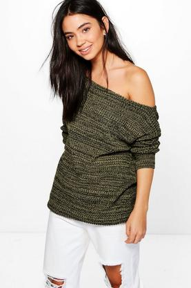 Hannah Marl Slash Neck Jumper