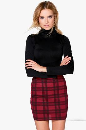 Gianna Berry Check Strech Mini Skirt