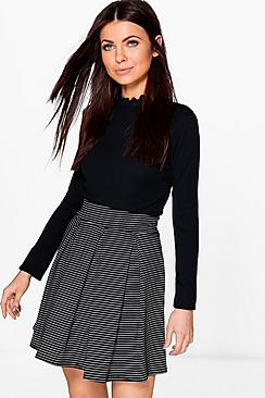 Kaia Pinstripe Mono Box Pleat Skater Skirt