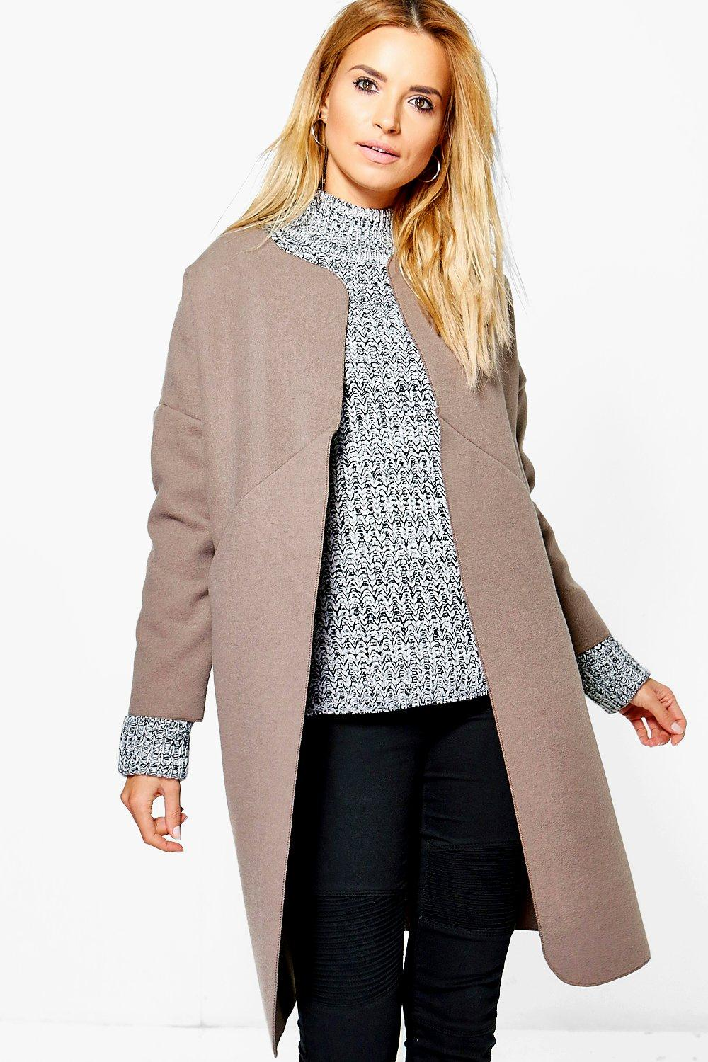 Holly Collarless Wool Look Coat