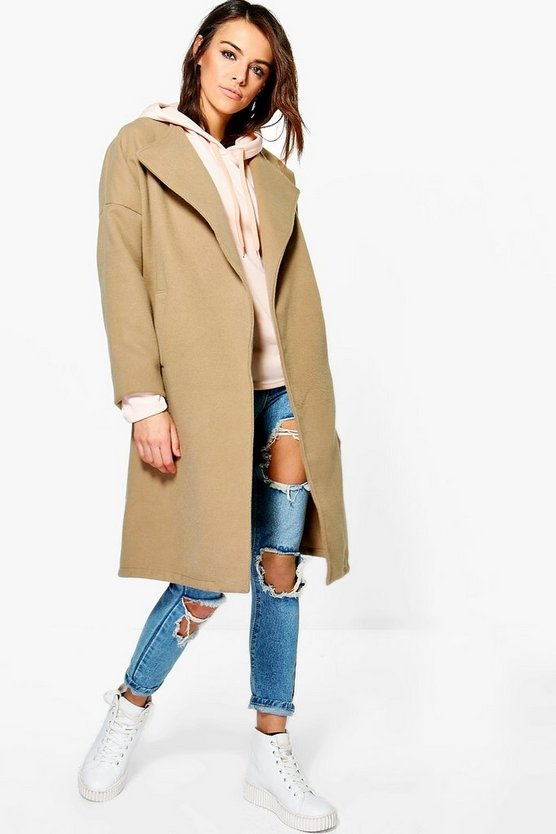 Milly Collarless Wool Look Coat