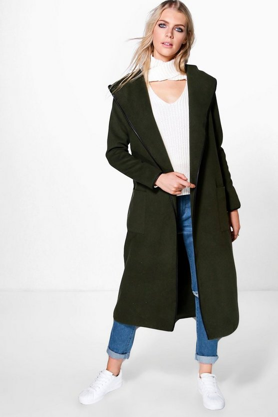 Niamh Hooded Wool Look Coat With PU Trim