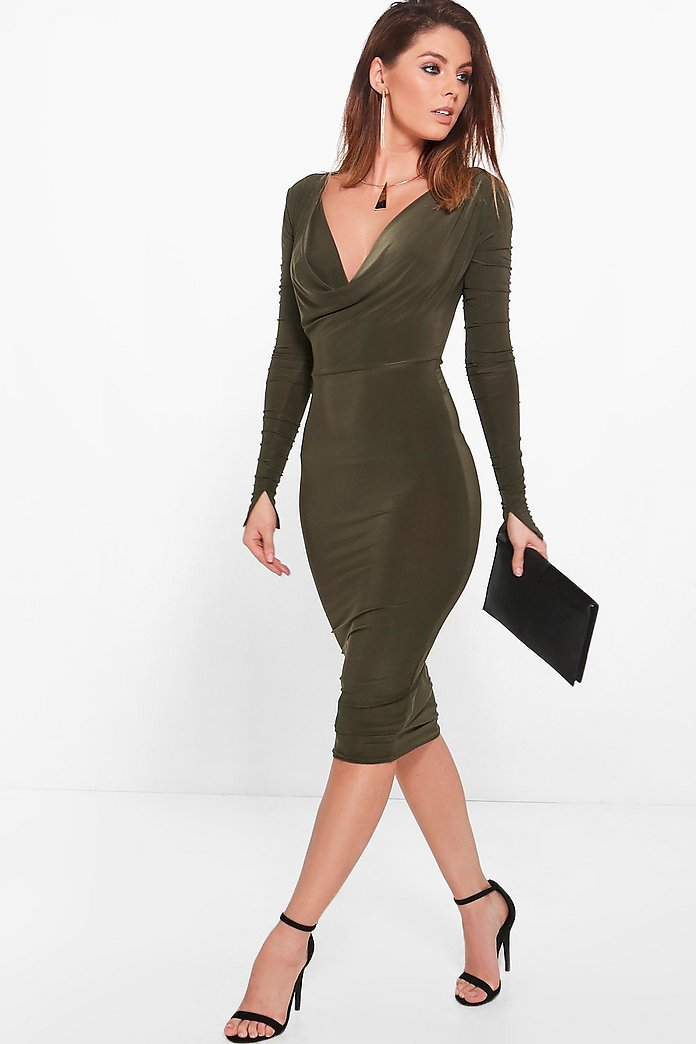 Tia Slinky Cowl Neck Ruched Sleeve Midi Dress