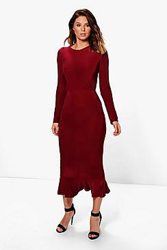 Sue Slinky Long Sleeved Peplum Hem Midi Dress