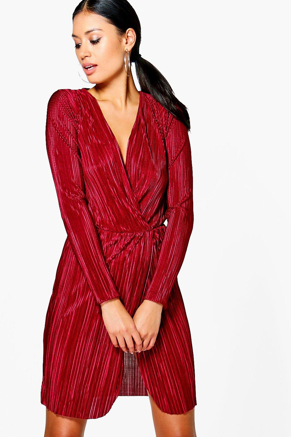 Daniella Pleated Long Sleeved Wrap Dress