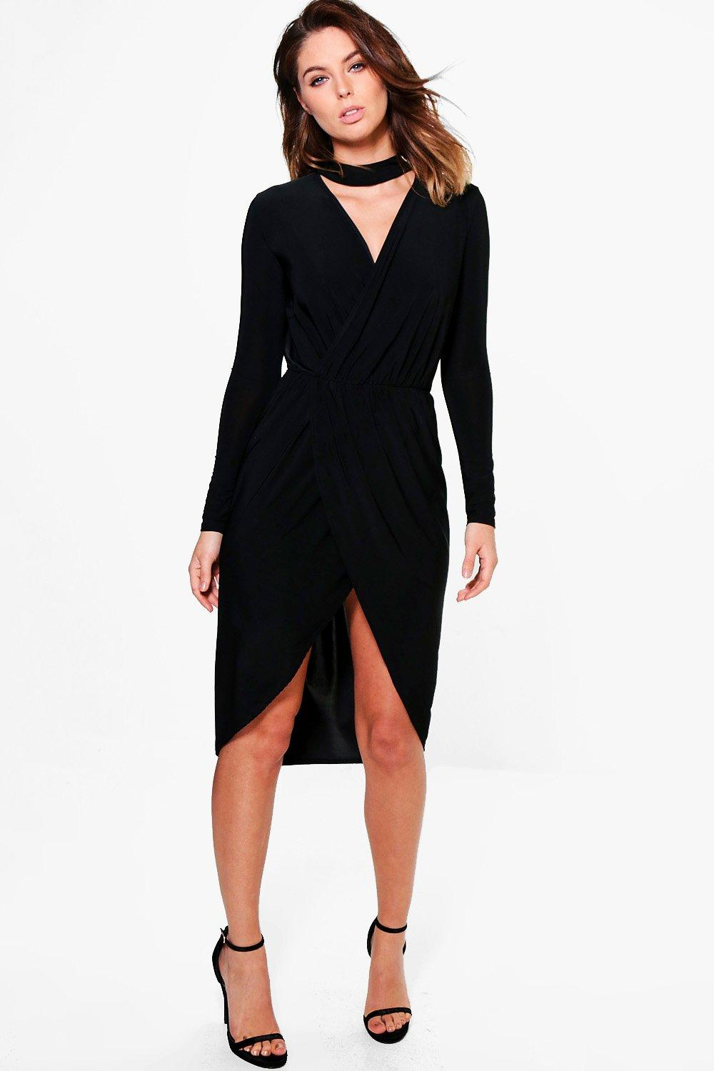 Josephine Choker Detail Wrap Dress
