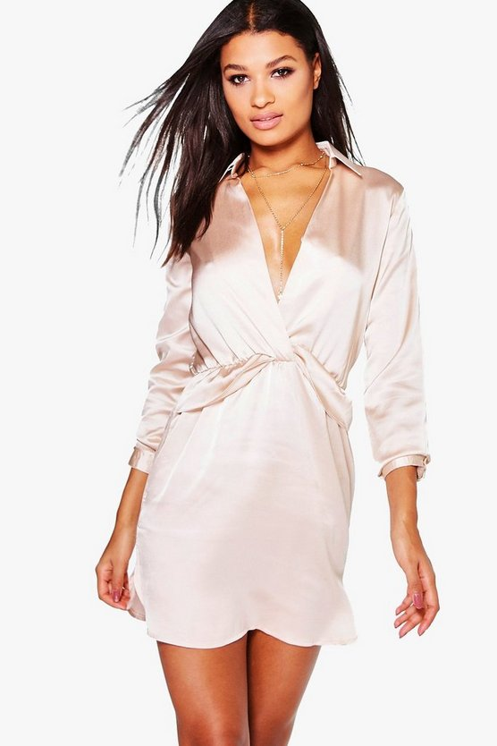 Alessandra Satin Wrap Detail Dress