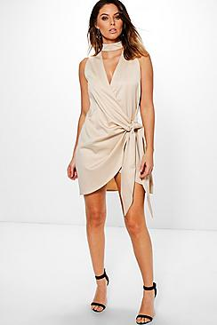 Perrie Satin Choker Wrap Detail Dress