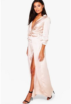 Boutique Iona Satin Wrap Detail Maxi Dress