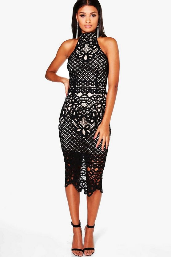 Boutique Ayn Lace Open Back Midi Bodycon Dress
