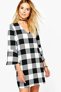 Nala Choker Plunge Check Shift Dress