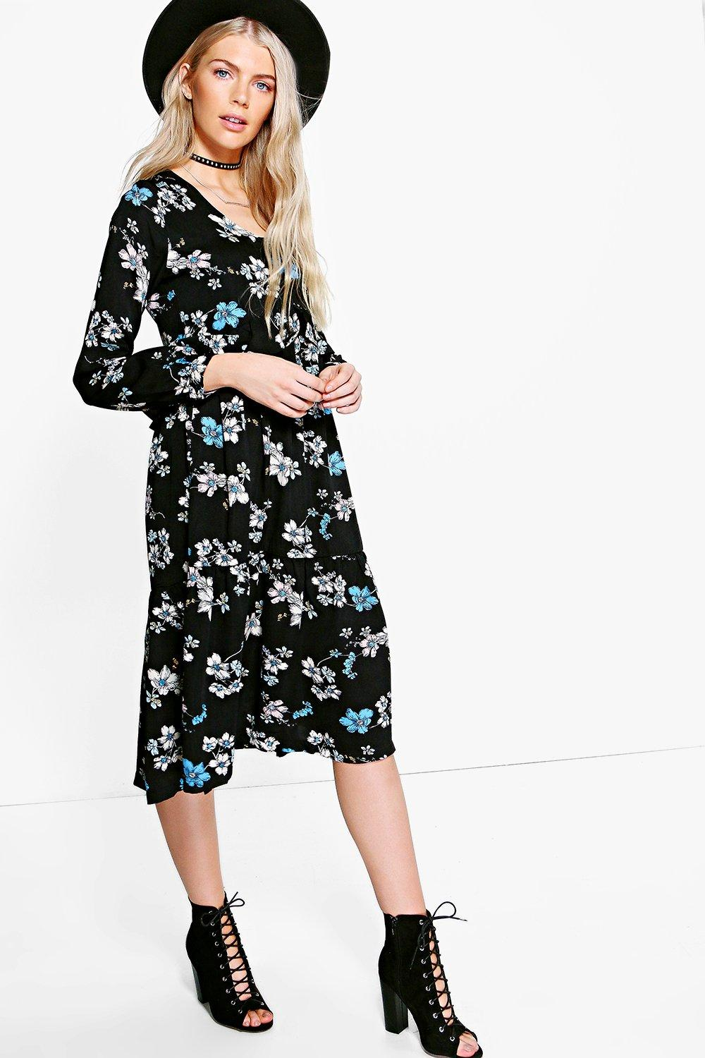 Nara Ruffle Midi Tea Dress