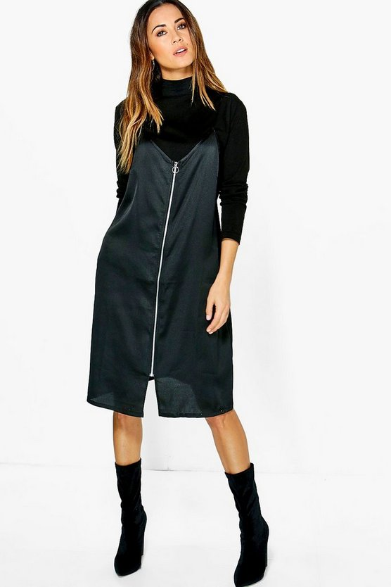 Neve High Neck 2 in 1 Zip Slip Dress