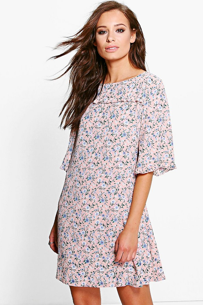 Nora Floral Ruffle Shift Dress