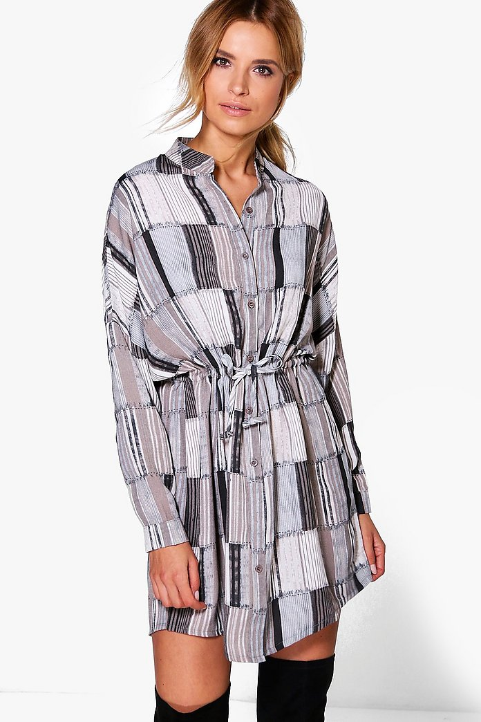 Olga Stripe Tie Front Shirt Dress