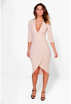 Lula Strutured Shoulder Plunge Midi Dress