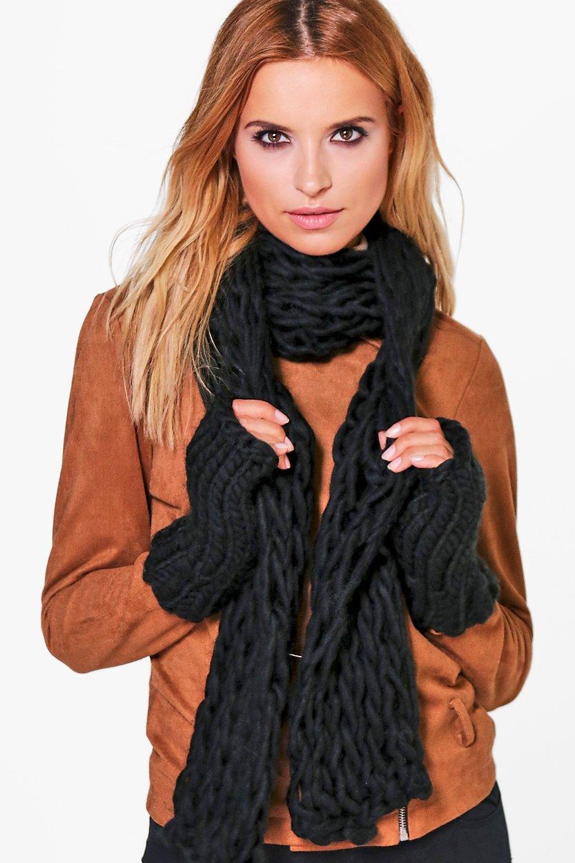 Chunky Knit Scarf & Mitten Set  black
