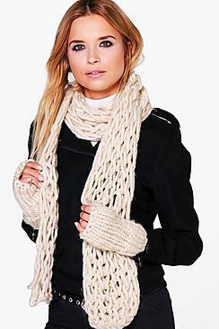 Lyla Chunky Knit Scarf & Mitten Set