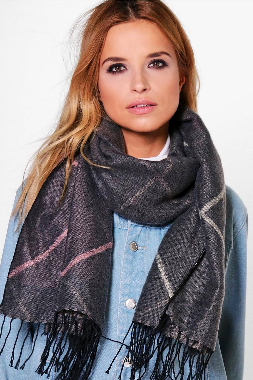 Lena Simple Check Oversize Scarf