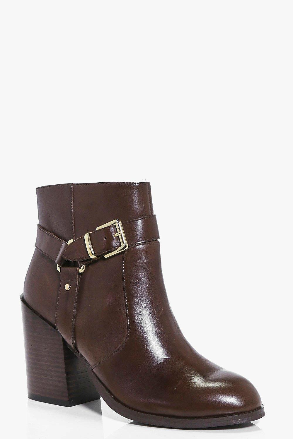 Anya Boutique Leather Strap Back Heel Boot
