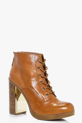 Lottie Boutique Leather Lace Up Ankle Boot