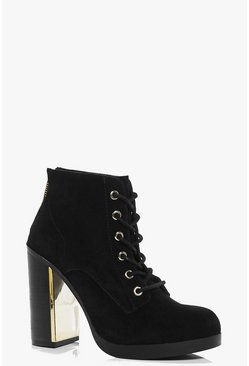 Leila Boutique Suede Lace Up Ankle Boot