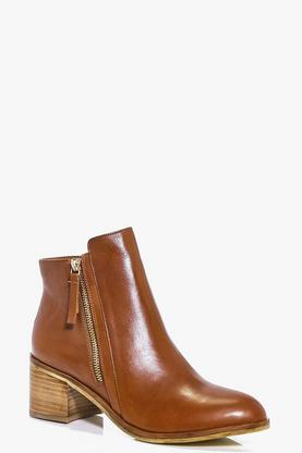 Nancy Boutique Leather Zip Side Flat Boot