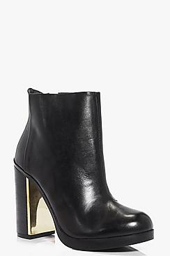 Laura Boutique Leather Platform Block Heel