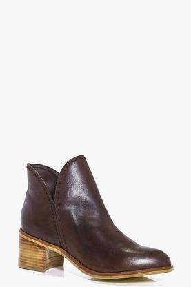 Lois Boutique Leather Cut Work Ankle Boot