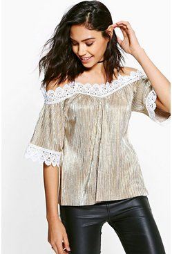 Darcy Metallic Cleated Cold Shoulder Top