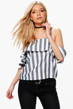 Arabella Stripe Cold Shoulder Top