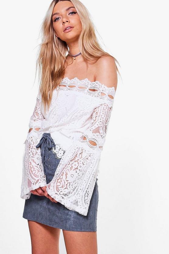Elizabeth boutique crochet lace bardot top boohoo for Boutique tops
