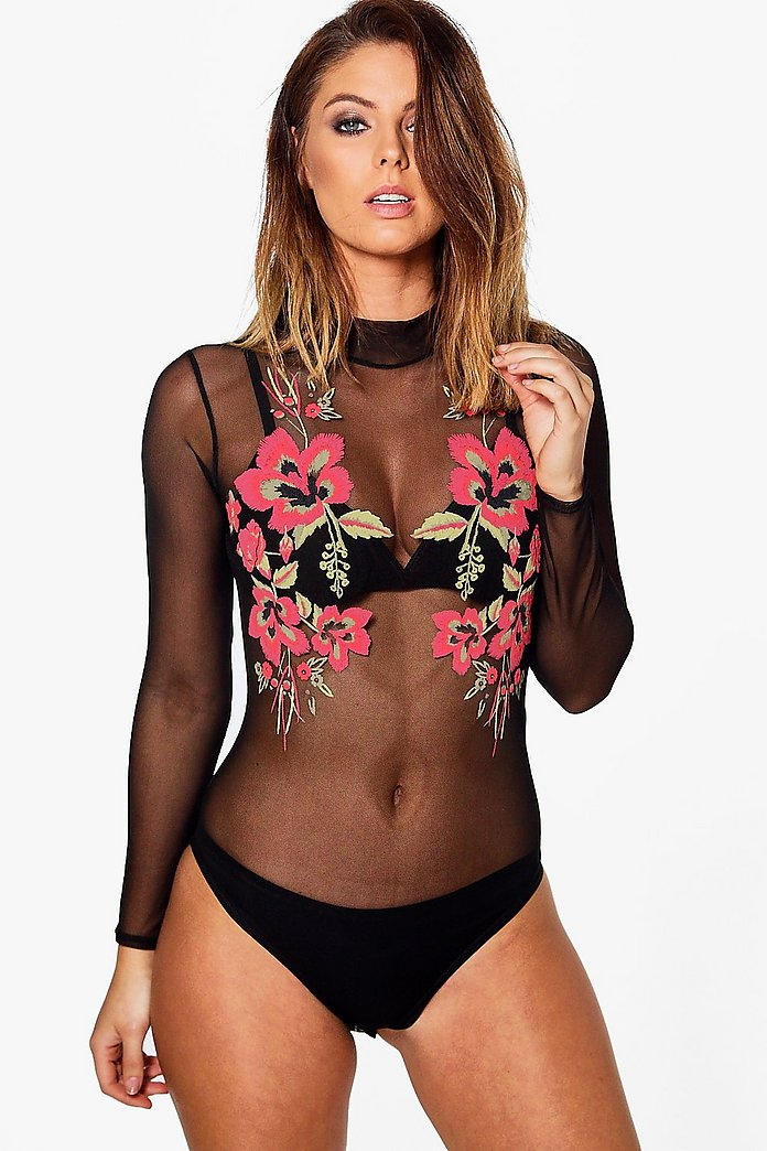 May Rose Printed Mesh Bodysuit