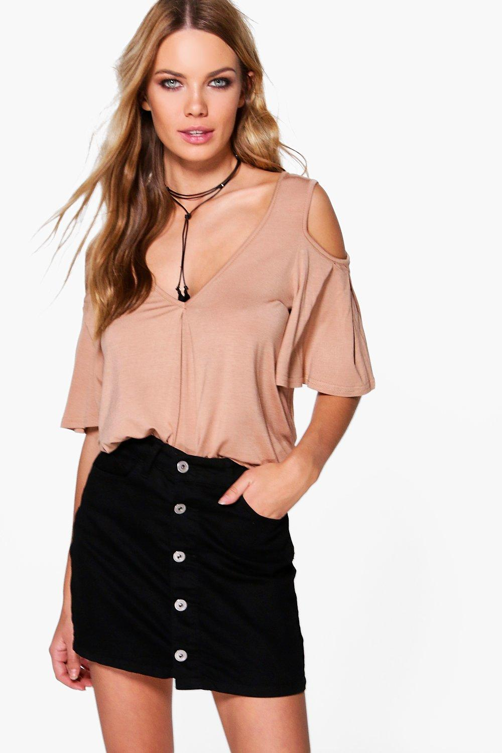 Elaina V Neck Frill Sleeve Cold Shoulder T-Shirt