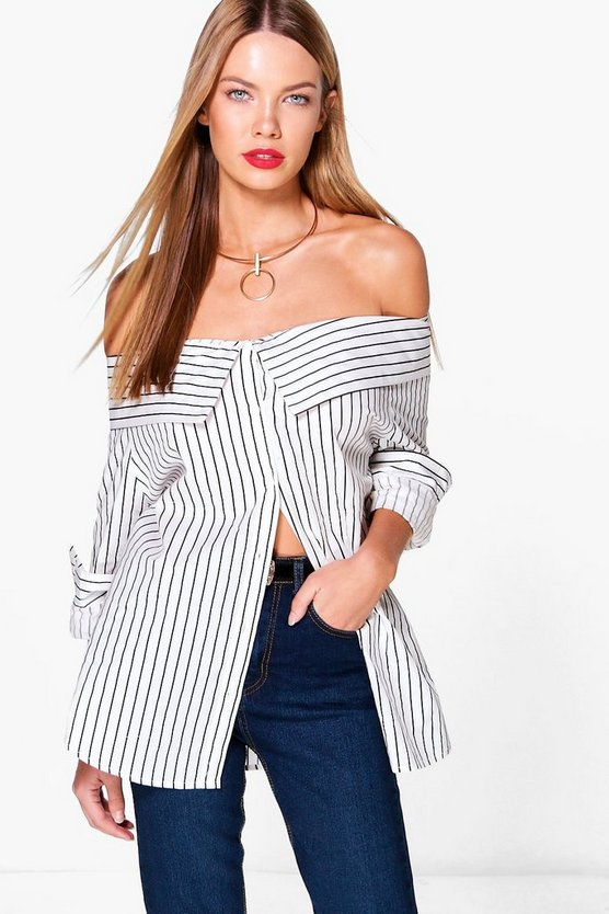 Charlotte Striped Bardot Shirt