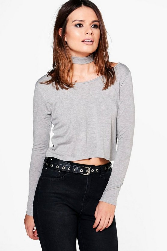 Christina Choker Long Sleeve Crop T-Shirt