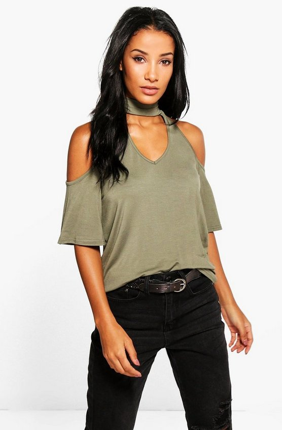 Laura Cold Shoulder Tie Neck T-Shirt