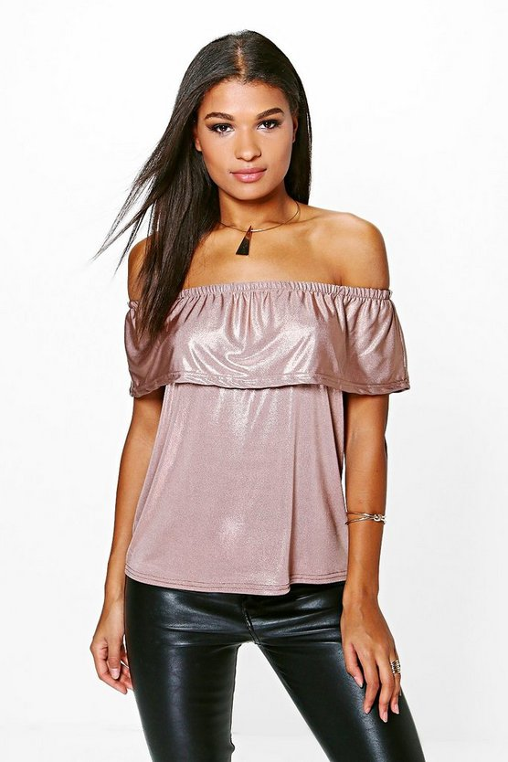 Robyn Metallic Bardot Top