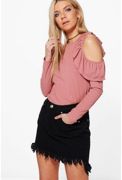 Zoe Cold Shoulder Ruffle Rib T-Shirt