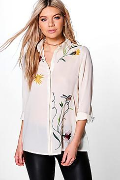 Jo Boutique Embroidered Front & Back Woven Shirt