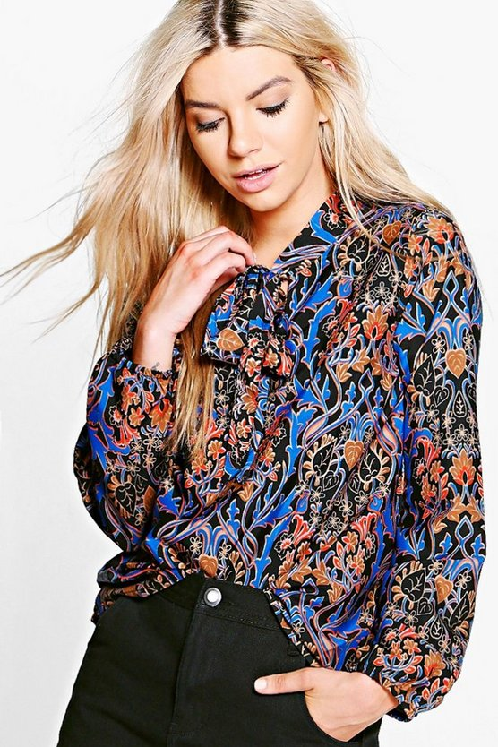 Muriel Woven Tie Neck Printed Blouse