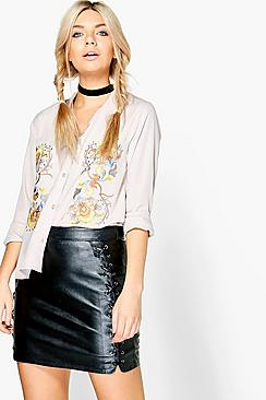 Kalani Boutique Embroidered Front Low Collar Shirt