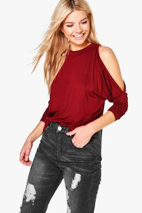 Kitty High Neck Batwing Cold Shoulder Top