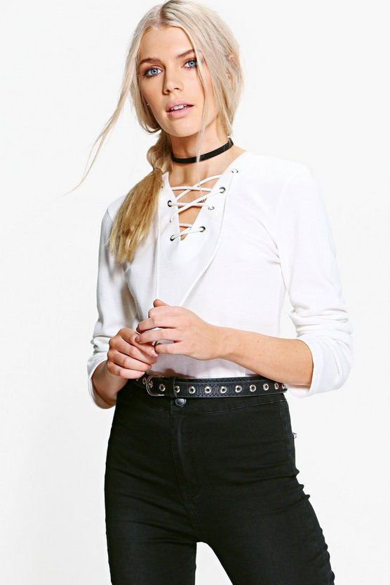 Thea Lace Up L/S Top