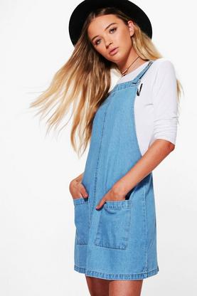 Pansy Patch Pocket Denim Pinafore Dress