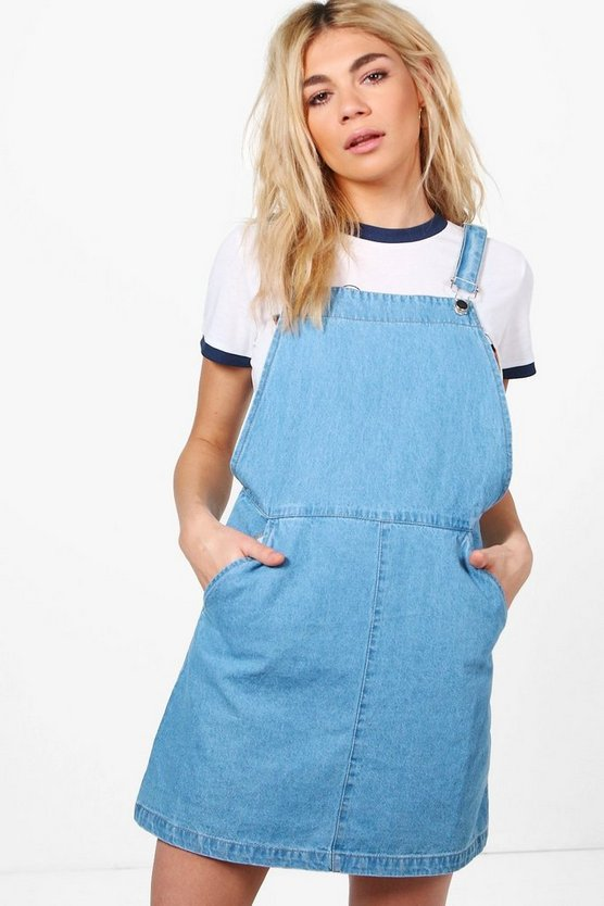 Sally Side Pocket Denim Pinafore Dress