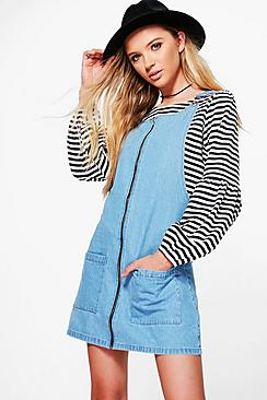 Laura Zip Through Patch Pocket Denim Pinafore Dress