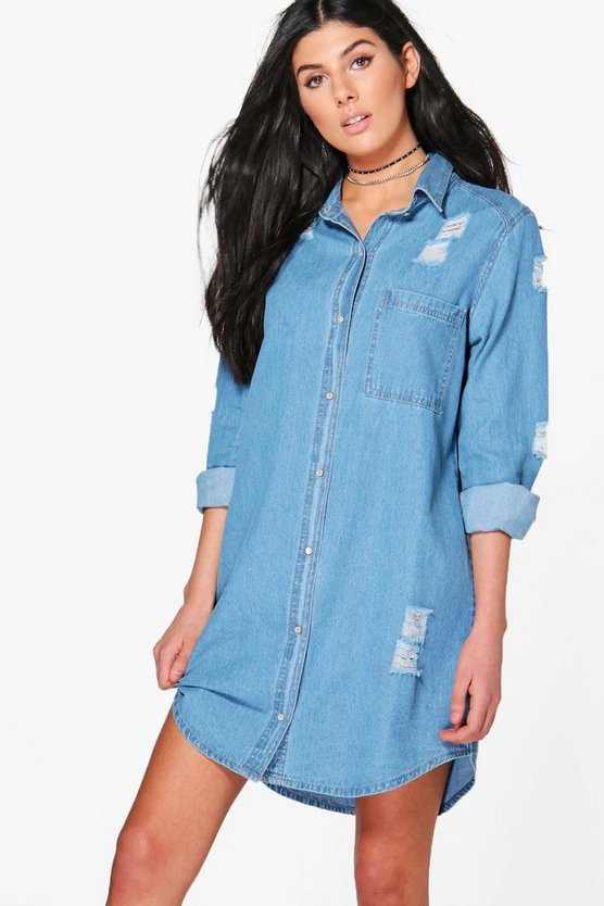 Esther Oversized Distressed Denim Shirt Dress