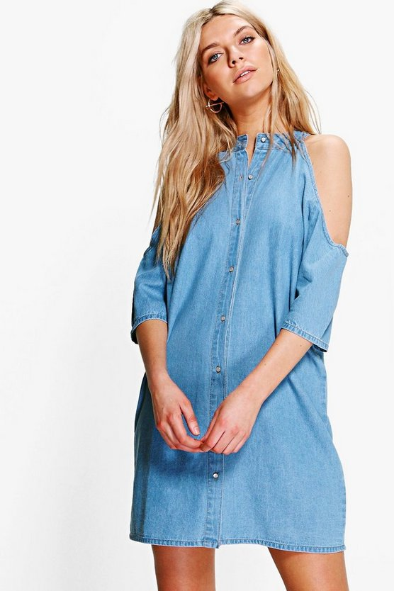 Jenny Longline Cold Shoulder Denim Shirt Dress