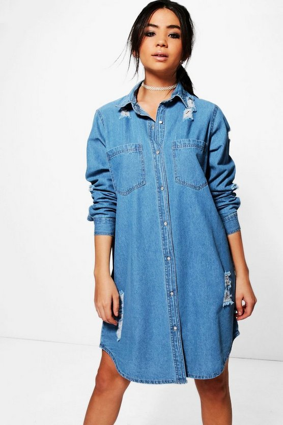 Jenny Oversized Distressed Denim Shirt Dress